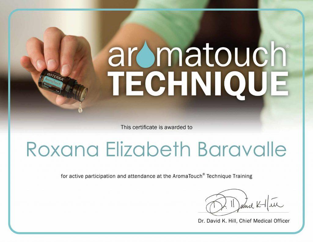Certificación Aromatouch Technique Roxana Baravalle